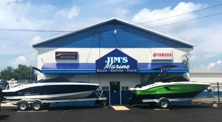 The front entrance of boat dealer Jim's Marine in Galena, MD